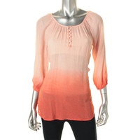 BCX Womens Juniors Crinkled Dip-Dye Peasant Top