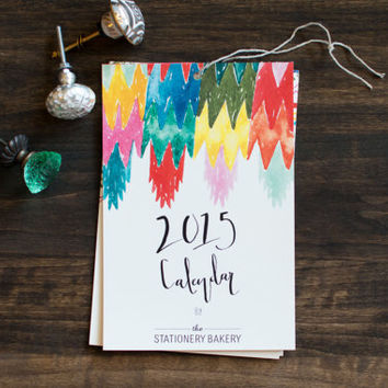 2015  calendar - 6 x 9 - wall calendar - hand painted patterns - hand lettering - holiday gift
