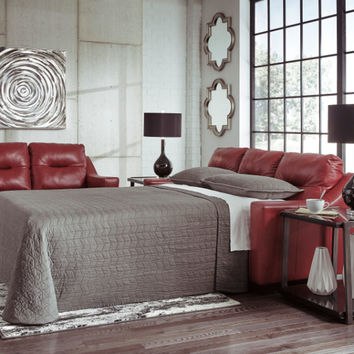 Kensbridge collection crimson colored leather match upholstered queen sleeper sofa with squared arms