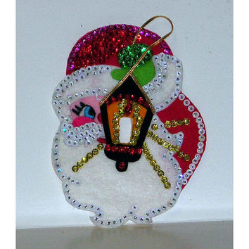 Vintage 1970s Santa Kit Lite Switch Cover DYI Craft Kit Finished Beaded Sequins