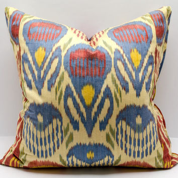 20x20 ikat pillow cover blue red cream pillow cover cushion case, pillowcase, pillow cover, ikat, cushion cover, throw pillow, accent pillow