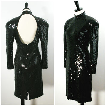 Black Sequin Dress, Sequin Party Dress, Fitted Party Dress, 1980s Oleg Cassini Backless Sequin Dress, Cocktail Dress Size 10 Large