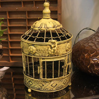 Yellow Bird Cage / Candle Holder / Home Decor / Shabby Chic / Vintage / Cottage Chic / Metal Bird Cage