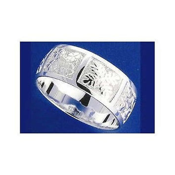 8MM STERLING SILVER 925 HAWAIIAN QUILT DESIGN BAND RING