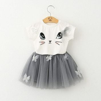 Baby girls clothing set Cartoon Cat T shirt Yarn lace Skirt Children kids clothes suits Fashion toddler clothes