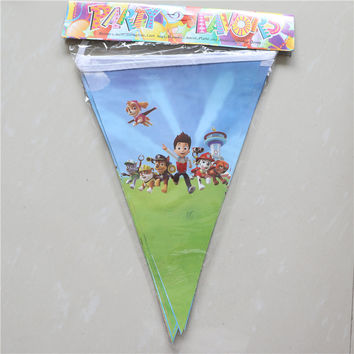 2.5M Baby Shower Party Banners Kids Favors Cartoon Dogs Flags Decoration Pennats Happy Birthday Bunting Events Supplies 1set\lot