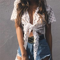Women's Fashion Hot Sale Summer Hollow Out Lace Short Sleeve T-shirts Jacket [10357221645]