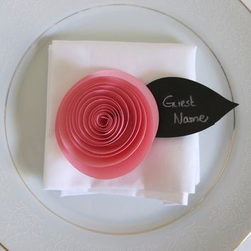 """6 Pink Buttercup Place Cards, 3"""" Ranunculus Handmade Paper Flowers, Black Chalkboard Leaf Guest Name Tag"""