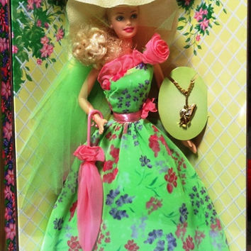 1994 Simply Charming Blonde Barbie, New in Box, with Beautiful Green Gown, Hat, Parasol, and Girl Charm Bracelet