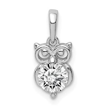 Sterling Silver Round Clear CZ Small Owl Pendant