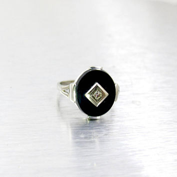 Onyx Diamond Signet Ring, Art Deco 10K White Gold Oval Black Onyx Ring. Signed Campus Antique Jewelry, Size