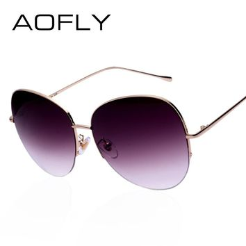 AOFLY Women Oversize Sunglasses Metal Semi-Rimless Glasses Fashion Vintage Summer Style Outdoor Sport Sunglasses Men oculos
