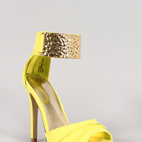 Anne Michelle Embossed Metallic Ankle Cuff Open Toe Heel