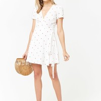 Heart Print Surplice Wrap Dress