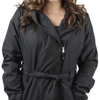 Jessica Simpson Women's Hooded Zip Rain Coat Jacket