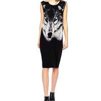 Black Wolf Print Sleeveless Midi Dress