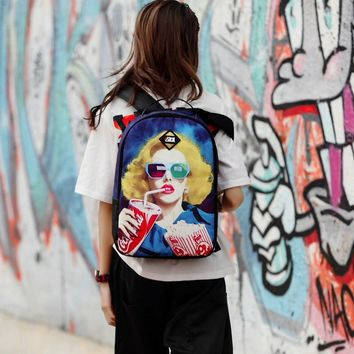 Punk Style Canvas Backpacks Coke Girl Skull Lamb Guitar Leopard British Flag Galaxy Star Multicolor Bags Teenagers Travel Bags