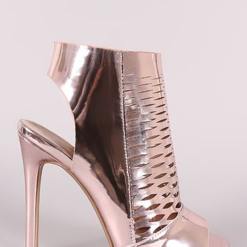 Qupid Patent Perforated Stiletto Mule Heel