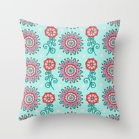 Floral Frost Throw Pillow by Sarah Oelerich