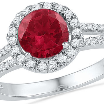 10kt White Gold Womens Round Lab-Created Ruby Solitaire Diamond Halo Ring 1-5/8 Cttw 100452