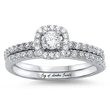 A Perfect .5CT Round Cut Russian Lab Diamond Halo Bridal Set Wedding Band Ring