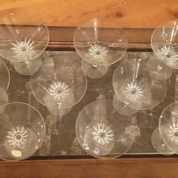 Set of 9 Vintage Handmade Small Crystal Martini Glasses Made in West Germany Great Bar Decor Entertaining House Warming Wedding Gift