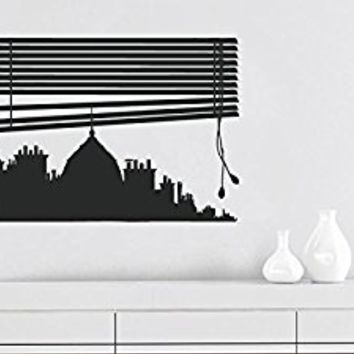 Wall Decal Vinyl Sticker Decals Art Decor Design Window View Skyline City Tower Paris France Europe Silhouette Bedroom Living Room (r201)