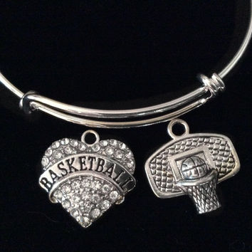 Crystal Heart Basketball Hoop Charm Silver Expandable Charm Bracelet Sports Gift Adjustable Bangle