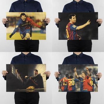 Free shipping,Lionel Messi /football soccer star/kraft paper/Cafe bar poster/ Retro Poster/decorative painting 51x35.5cm