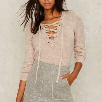 Bardot Tighten the Strings Lace-up Sweater