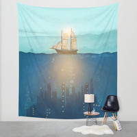The Underwater City that was destroyed before the whale got to the ship. Wall Tapestry by Viviana Gonzalez