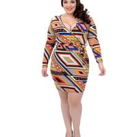 Plus Size Blue & Orange Long Sleeve Theresa Fitted Wiggle Dress