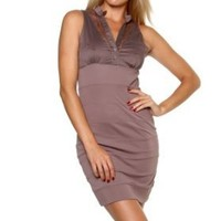 Sexy Clubwear Dress Taupe Sleeveless Collared Front Lace Panel Sexy Band Mini