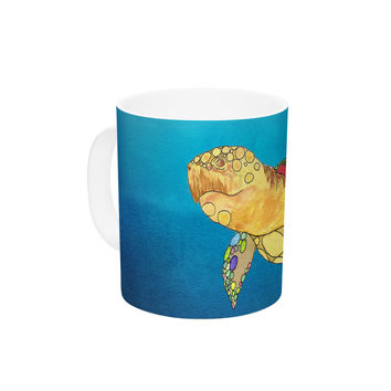 "Catherine Holcombe ""Bubbles"" Blue Turtle Ceramic Coffee Mug"