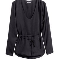 H&M - Satin Blouse with Fringe - Black - Ladies