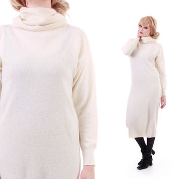 Angora Lambswool Cream Sweater Dress Long Midi Minimalist Chic Winter Clothing 80s 90s Vintage Womens Size Medium
