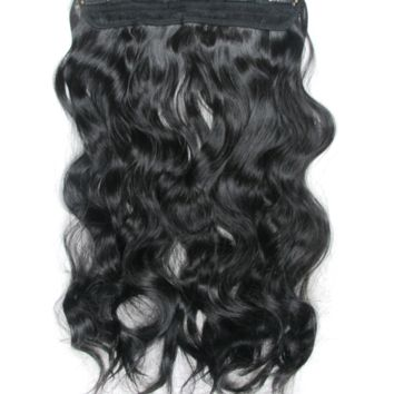 "20"" One Piece Hair Extension Wavy (1B Natural Black)"