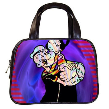Popeye the sailor man and olive oil handbag