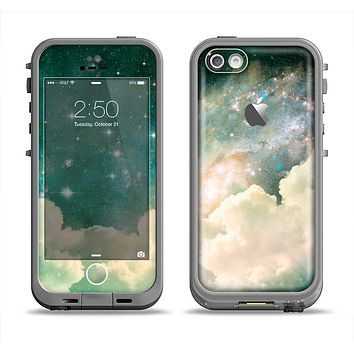 The Cloudy Abstract Green Nebula Apple iPhone 5c LifeProof Fre Case Skin Set