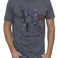Junk Food Batman and Superman Tag Team Vintage Inspired Adult Heather Gray T-Shirt - Superman - | TV Store Online