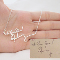 SALE Signature Necklace/Multiple Lines Signature Necklace in Silver/Handwriting necklace/Handwritten/Bridesmaid Gift/Mother Gift
