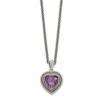 Sterling Silver Two Tone Silver And Gold Plated Sterling Silver w/Amethyst Heart Necklace