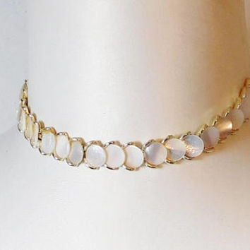 "Shell Choker, Chain Necklace, Gold Tone, 18 1/2"", Panel, Disc, Round, Hinged, Vintage Costume Jewelry"