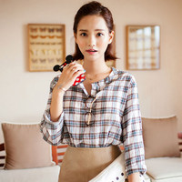 Buttoned Neck Plaid Blouse - I know you wanna kiss me. Thank you for visiting CHUU.
