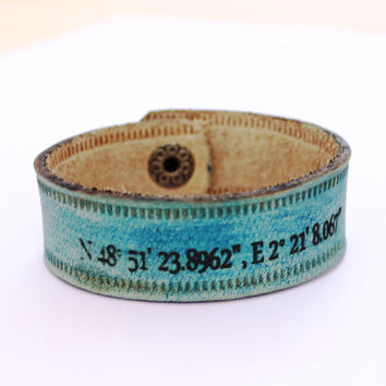 GPS Coordinate bracelet wristband personalised leather gps cuff