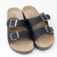 Back To Cool Black Two Strap Buckle Sandals