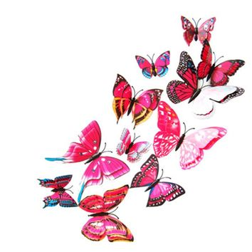 12pcs 3D double layer feather butterfly sticker with Hooks window door curtain clothes Dress decor butterflies drop shipping