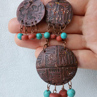 Egypt pendant earrings set polymer clay jewelry rustic necklace pendant jewelry art pendant handcrafted earrings boho necklace gift for her
