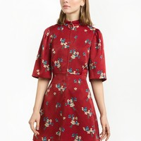 RED FLORAL ZIP FRONT FIT AND FLARE DRESS