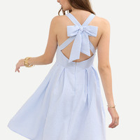 Summer Romantic Blue Striped Crisscross Bow Dress